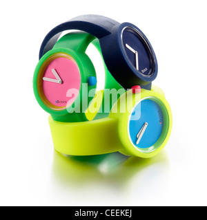 3 plastic bright watches - Stock Photo