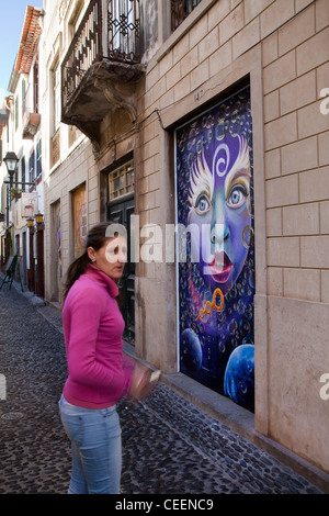 Zona Historica do Funchal Portas com Arte Doors with Art in Funchal, Maderia, Portugal. - Stock Photo