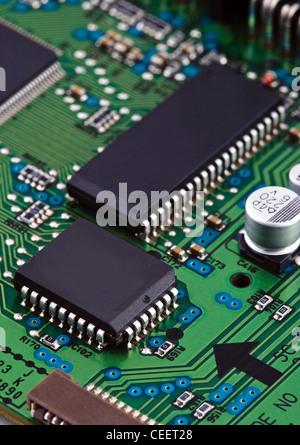Microchips on circuit board - Stock Photo