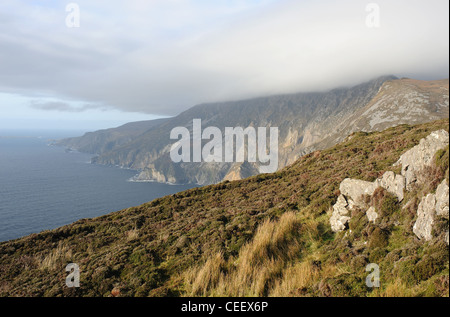 The Slieve League (Grey Mountain) cliffs, situated on the West coast of Co. Donegal Ireland, highest cliffs in Europe - Stock Photo