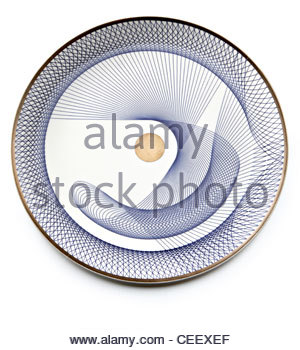 plate with spiral geometric design pattern - Stock Photo