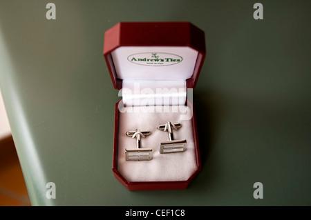sleeve pins for wedding shirt - Stock Photo