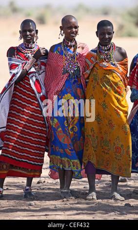 Maasai women near their village in Amboseli National Park, Kenya, East Africa. - Stock Photo