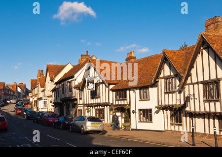 The Swan Hotel and High Street in Lavenham , Suffolk, England , Britain , Uk - Stock Photo