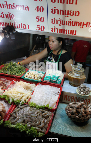 Food for sale at the Night Bazaar Food Court in Chiang Rai, Thailand. - Stock Photo