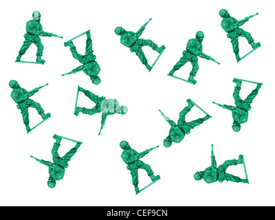 Toy soldiers isolated against a white background - Stock Photo