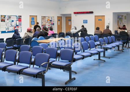 Waiting room at NHS health centre, England - Stock Photo