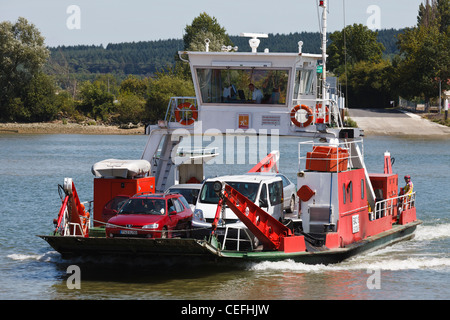 Ferry crossing the River Seine from Le Mesnil sous Jumieges to Yville sur Seine, Normandy, France - Stock Photo