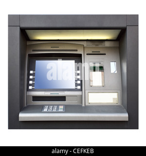 Automated teller machine close up isolated over white - Stock Photo