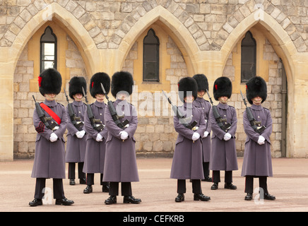 The Changing of the Guard at Windsor Castle. Windsor, Berkshire, England, UK - Stock Photo