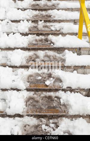 Snowy steps, England - Stock Photo