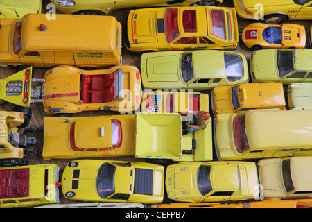 Different Shades Of Yellow traffic jam of yellow model cars, all different shades of yellow