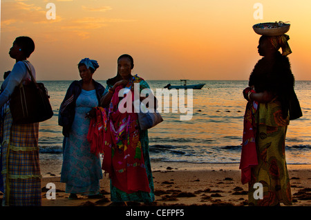 Beach vendors at the end of the day in Saly. Senegal - Stock Photo