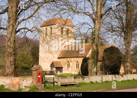 Chiltern Hills - Fingest village - Bucks - the church of St Bartholmew - famous for its tower - early spring sunshine - Stock Photo
