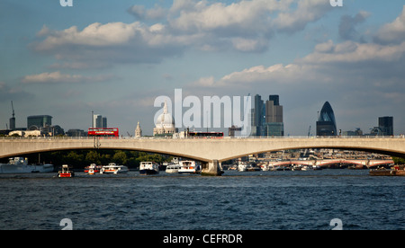 Photograph of London Bridge whilst riding the clipper on The Thames - Stock Photo