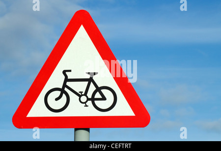 British cycle route ahead triangular warning sign. - Stock Photo