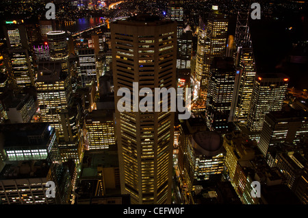 High level oblique aerial of Night , Sydney - Stock Photo