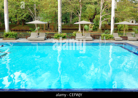 Swimming pool at the luxury hotel, Bentota, Sri Lanka - Stock Photo