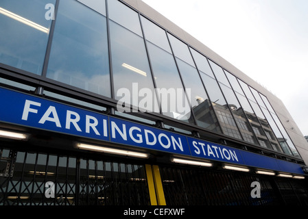New Crossrail Farringdon Station sign nearing completion London England UK   KATHY DEWITT - Stock Photo