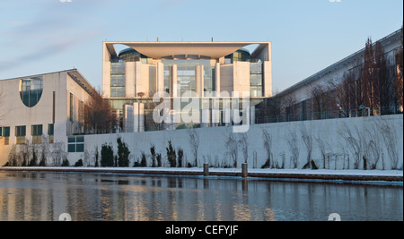 Bundeskanzleramt in Berlin from the back side (water side). High resolution shot in a winter evening. - Stock Photo