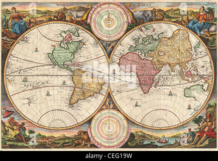 1730 Stoopendaal Map of the World in two Hemispheres - Stock Photo