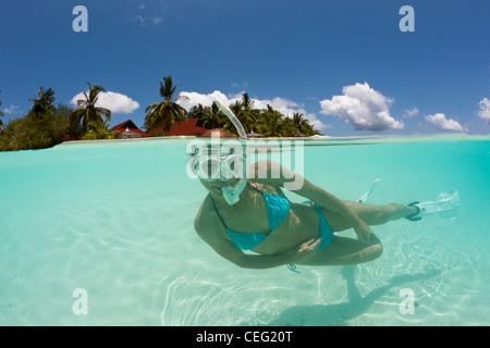 Snorkeling at Kurumba Island, North Male Atoll, Indian Ocean, Maldives - Stock Photo