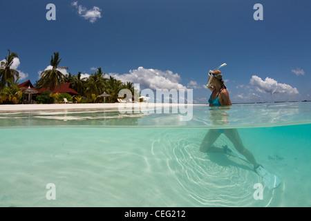 Vacation at Maldives, North Male Atoll, Indian Ocean, Maldives - Stock Photo