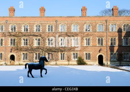 Jesus College in Winter, Cambridge, England, UK - Stock Photo