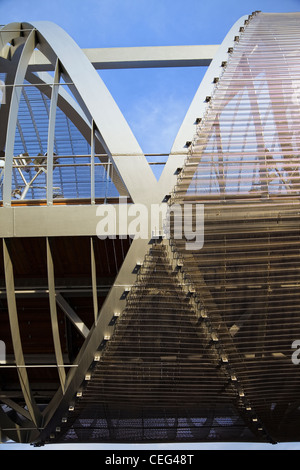Close detail of the Perrault bridge in Madrid - Stock Photo