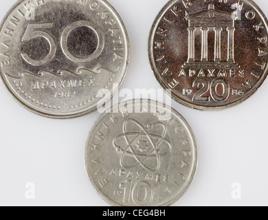 Drachma, former Greek currency coins - Stock Photo
