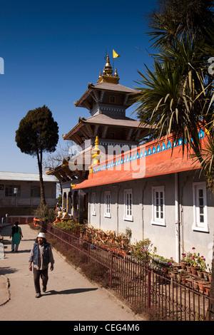 India, West Bengal, Darjeeling town centre, Dhirdham Hindu Temple Nepali style architecture - Stock Photo
