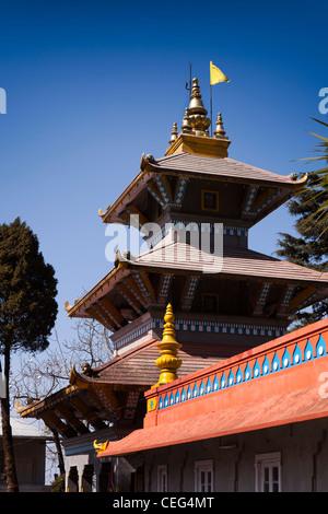 India, West Bengal, Darjeeling town centre, Dhirdham Hindu Temple Nepali style pagoda tower - Stock Photo