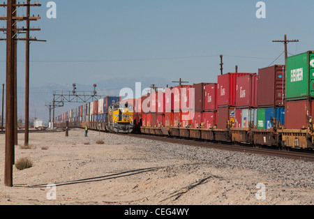 Railway Freight Train Carrying Containers Rail Lines Rear