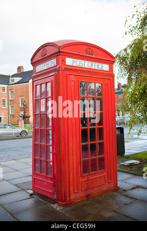 Larger style  K4 Vermillion Giant red telephone box found in Warrington, Cheshire England - Stock Photo