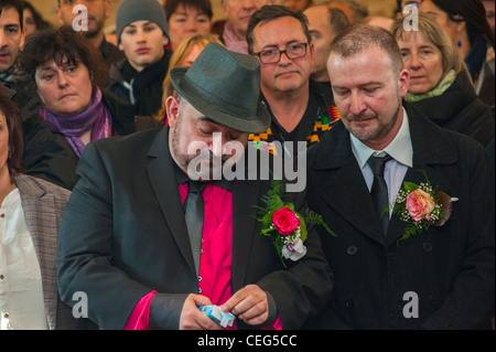 Villejuif, (Paris) France, Male Gay Couple, in crowd, Getting Married in First (Symbolic), Gay Marriage Ceremony - Stock Photo