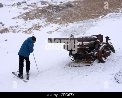 Cannon from the First World War or the Great War on the ski slopes between Arabba and Marmolada in the Italian Dolomites. - Stock Photo