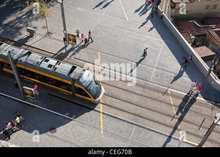 Aerial view, Metro do Porto, D Line; Series 2 of 3 - Vila Nova de Gaia, Porto District, Norte Region, Portugal - Stock Photo