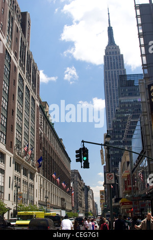 Macy's and the Empire State Building, New York City - Stock Photo