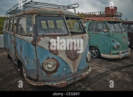 VW Camper van in show at Santa Pod - Stock Photo