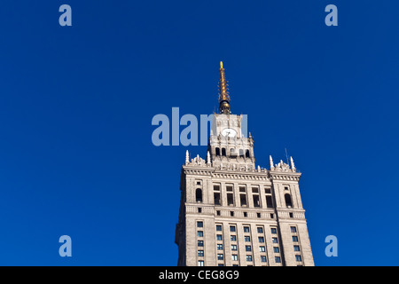 The palace of culture and science in Warsaw's center; a present of Stalin - Stock Photo