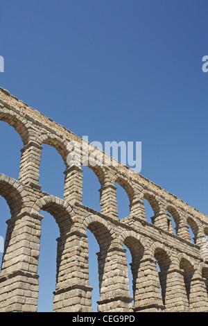 The roman Aqueduct of Segovia, Spain - Stock Photo