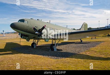 Douglas DC3 Dakota of the Royal Canadian Air Force, Comox Air Base Museum. Vancouver Island,  BC. Canada.  SCO 7985 - Stock Photo