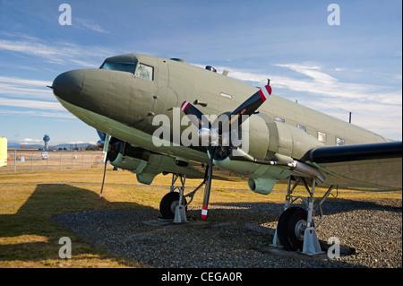 Douglas DC3 Dakota of the Royal Canadian Air Force, Comox Air Base Museum. Vancouver Island,  BC. Canada.   SCO - Stock Photo