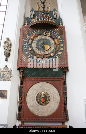 Astronomical Clock in the St. Mary's Church, located in Gdansk, Poland - Stock Photo