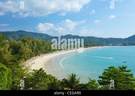 Aerial view of Kamala beach in the evening. Phuket island, Thailand. - Stock Photo
