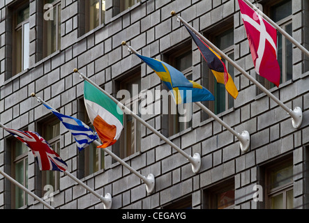 European flags flying from an office block in San Francisco - Stock Photo