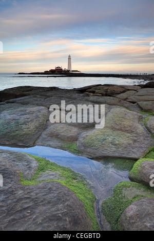 St Marys lighthouse at Whitley Bay North Tyneside, Tyne and Wear, Northumberland, England - Stock Photo