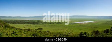 Ngorongoro Crater panoramic view from ascent road Tanzania - Stock Photo