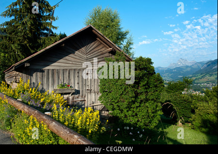 View from the road leading up to Flocons de Sel gourmet restaurant & Hotel. Megeve. France - Stock Photo