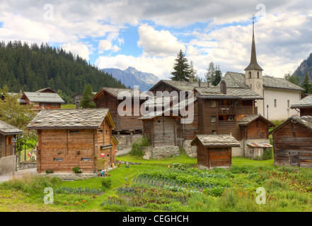 Switzerland canton of valais blatten the aletsch glacier view from stock photo royalty free - The tiny house village a miniature settlement ...